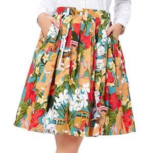 Old Havana Pin Up Circle Skirt Vacation